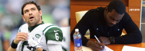 Sanchez released by the Jets. Signed QB MichaelVick